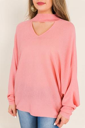 Clea Choker Sweater, Rose