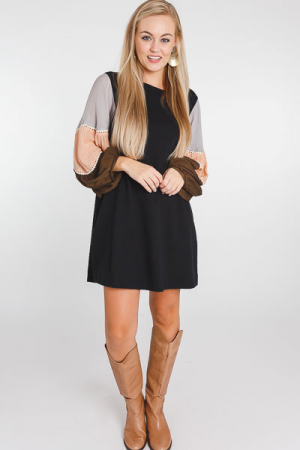 Colorblock Contrast Sleeve Dress
