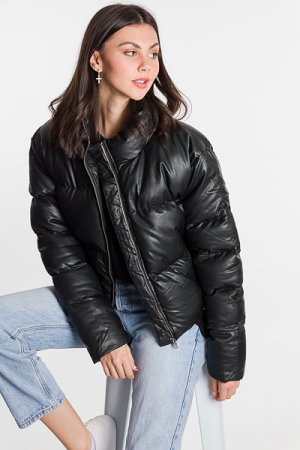 Leather Puffer Jacket, Black