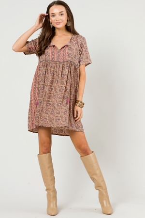 Mathis Paisley Dress, Beige