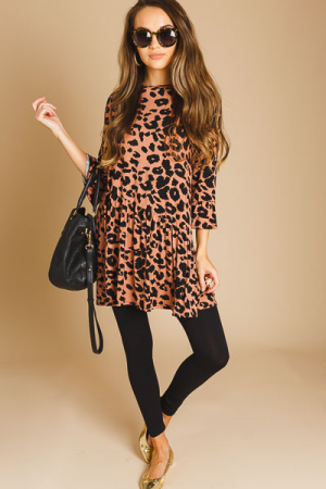 Slanted Cheetah Knit Dress