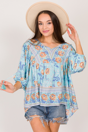 Flower Shower Top, Sky Blue