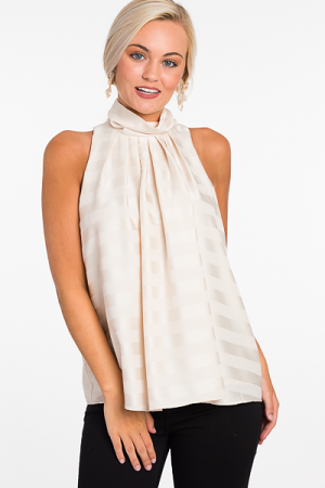 Silk Stripes Top, Cream