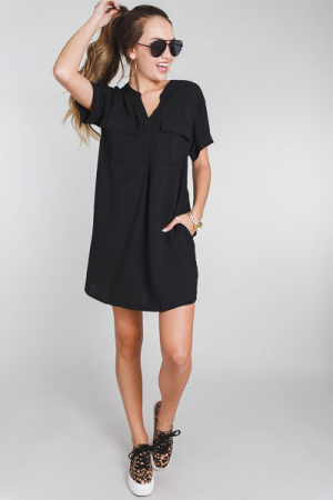 Double Pocket Frock, Black