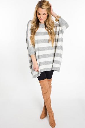 Striped Dolman Sweater, H. Grey