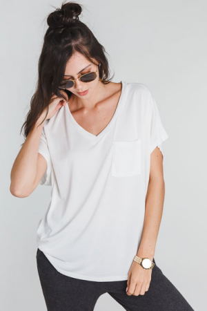 Creamy Knit Pocket Tee, Off White