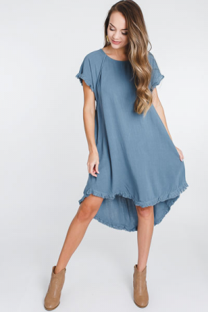 Lucy Linen Dress, Dusty Blue