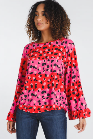 Abstract Dot Knit Top, Pink