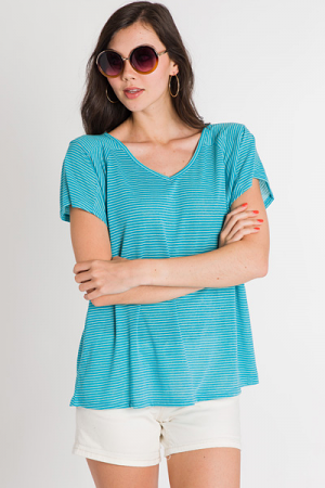 Simply Striped Tee, Aqua