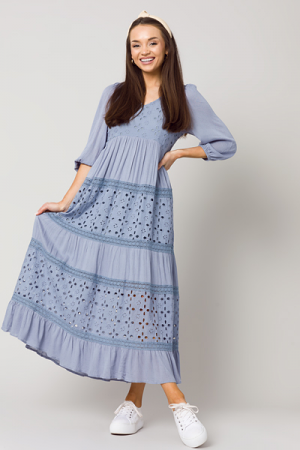 Eyelet Panels Maxi, Misty Blue