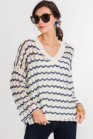 Scalloped Stripes Sweater