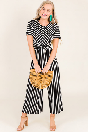 Tie Front Striped Jumpsuit