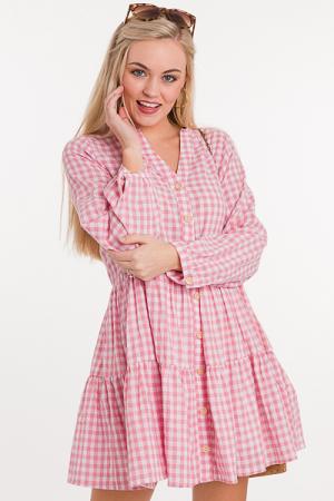 Girly Gingham Tier Dress, Blush