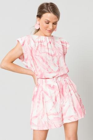 Tropics Shoulder Pad Top, Pink