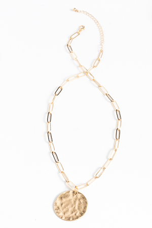 Hammered Disk Chain Necklace, Gold