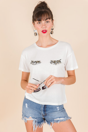 Beaded Eye Lashes Tee