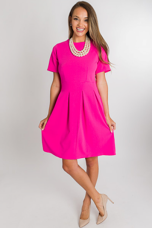 Pleated Skirt Dress, Pink