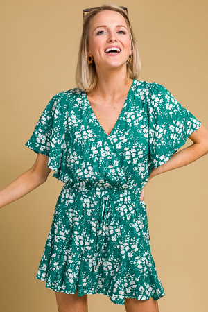 Kelly Floral Romper, Green