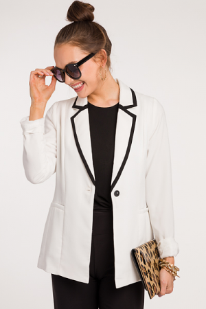 Black Trim White Blazer
