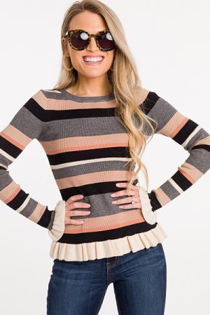 Striped Ruffle Edge Sweater, Taupe