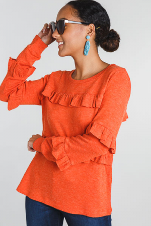 Blood Orange Ruffle Sweater
