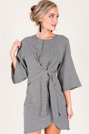 Tied Houndstooth Dress