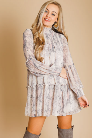 Smocked Snake Dress, Blush