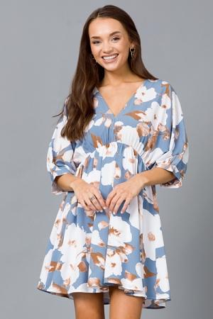 Cotton Field V Dress, Dusty Blue
