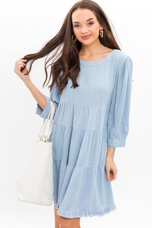 Linen Mix Tiered Dress, Sky Blue