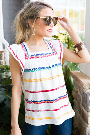 Patterned Stripe Embroidered Top