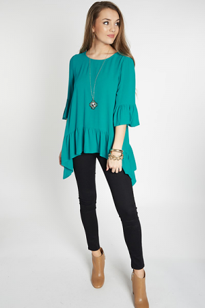 Shark Bite Ruffle Top, Turquoise
