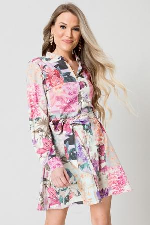 Hyacinth Patch Work Dress, Pink
