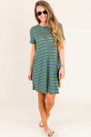Mel Striped Dress, Green