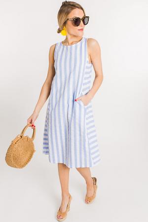 Crinkled Stripes Dress, Blue