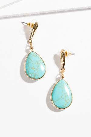 Hammered Gold Turquoise Teardrops
