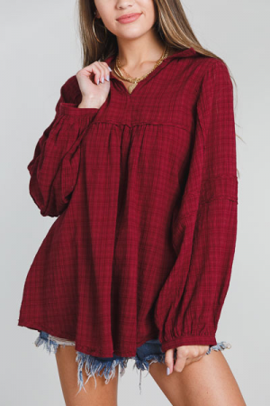 Puff Plaid Tunic, Wine