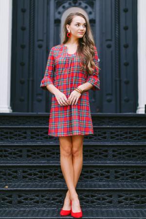 Stretchy Tartan Dress, Red