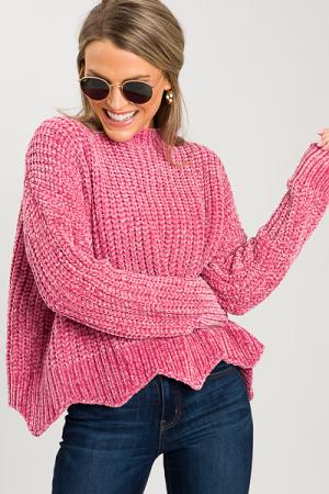 Scallop Chenille Sweater, Raspberry