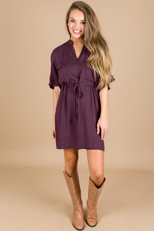 Ella Tie Waist Dress, Eggplant