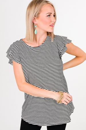 Layer Sleeve Top, Striped