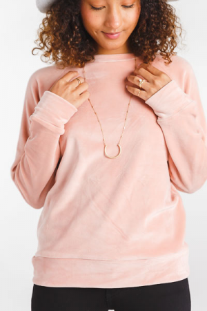 Velour Pullover, Pink