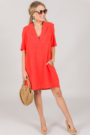 Shawl Collar Shift Dress