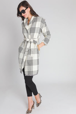 Plaid Duster Coat, Cream