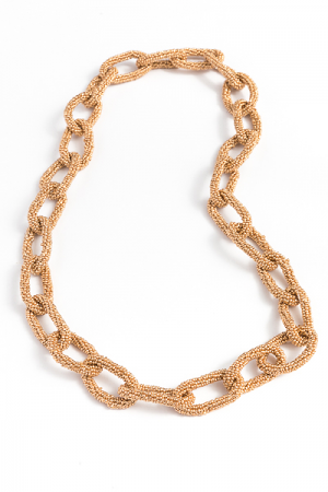 Seed Bead Links Necklace, Gold