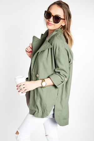 Livy Linen Jacket, Olive