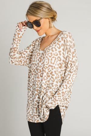 Taupe Cheetah Tunic, Cream