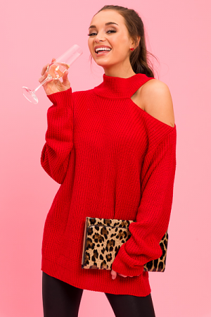 Shoulder Cutout Sweater, Red