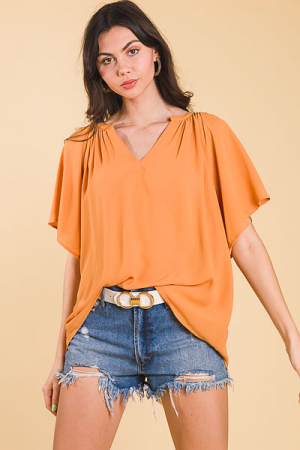 Pleated Split Neck Blouse, Amber