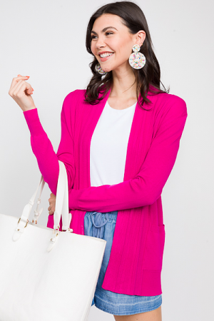 In Line Cardigan, Hot Pink