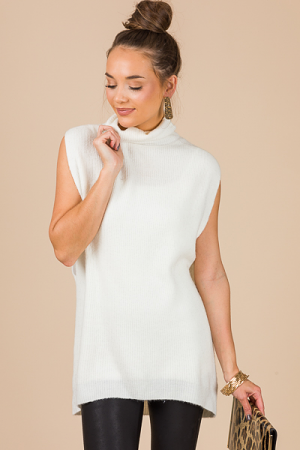 Posh Sleeveless Sweater, Ivory